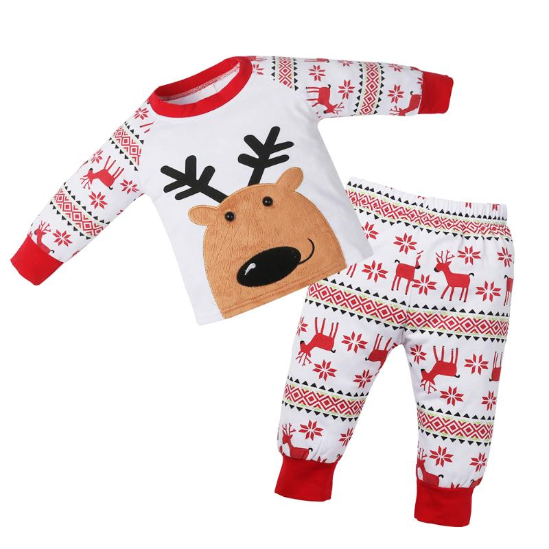 2pcs/Set Toddler Baby Christmas Outfit Cotton Cartoon Pajamas Clothing Set Long Sleeve Elk Embroidery Print T-shirt Pants Suit 2pcs children outfit clothes kids baby girl off shoulder cotton ruffled sleeve tops striped t shirt blue denim jeans sunsuit set
