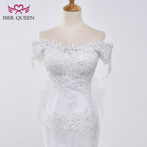Image 3 - Beading Lace Mermaid Wedding dress 2020 Pearl Beautiful Appliques Court Train Lace up Pure White Mermaid Wedding Dresses  WX0032