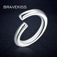 BRAVEKISS 925 Sample Silver Ring Design For Female Plain Adjustable Open Wedding Ring Band Styles For