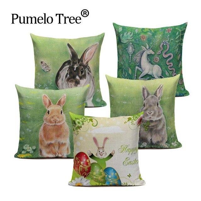 Happy Easter Bunny Cute Uśmiechnięta Królika Kolor Jaja Home Cotton Linen Rzut Poszewka Poszewka na Poduszkę Indywidualną Zwierząt Biura