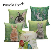 Happy Easter Cute Smiling Bunny Rabbit Color Eggs Home Cotton Linen Throw Pillow Case Personalized Cushion Cover Animal Office