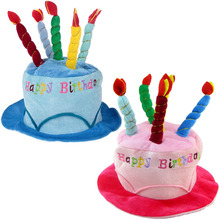Adults Happy Birthday Hat with Cake Candles Soft Birthday Party Hat Photograph Photo Booth Decoration Costume Accessories