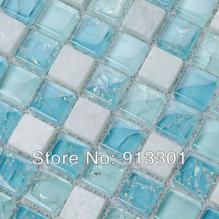 Crystal glass tile for bathroom wall and kitchen backsplash stone ...
