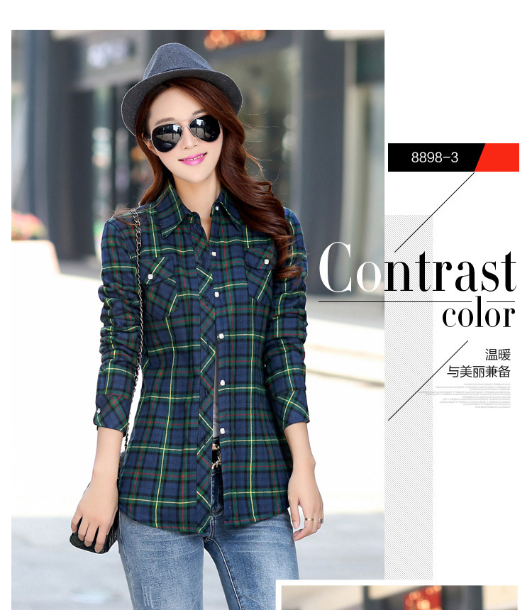 19 Brand New Winter Warm Women Velvet Thicker Jacket Plaid Shirt Style Coat Female College Style Casual Jacket Outerwear 7