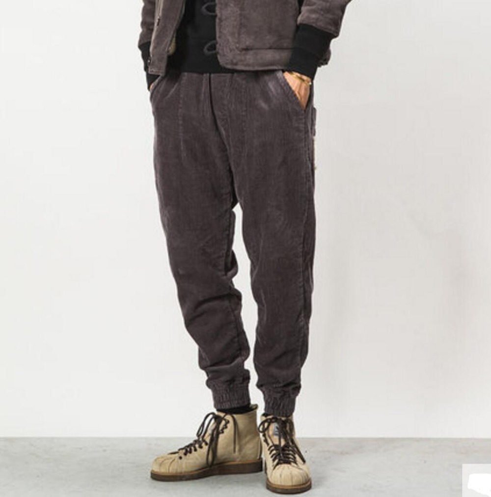 Autumn and winter Men's fashion solid color brief all match loose casual corduroy pants male vintage harem pants beam trousers ! - 3