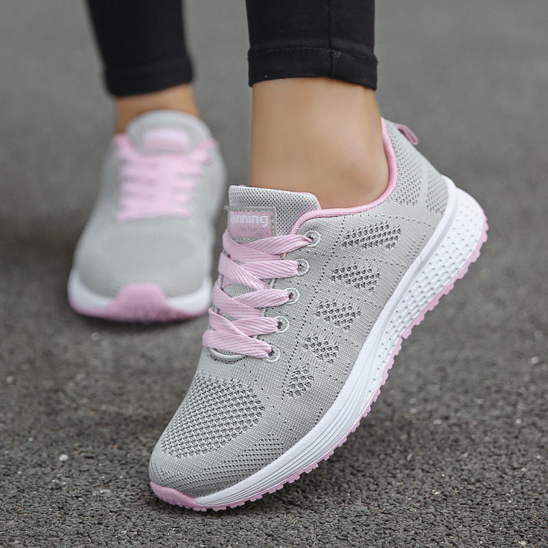 Women's Vulcanize Shoes Women Sneakers New Breathable Tenis Feminino Flats Sportwear Casual Travel Sneakers Lace Up Running Shoe