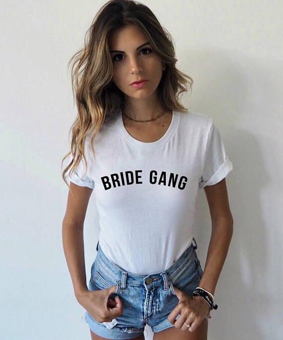 Novia Gang camisa tribu de la novia dama de honor regalo novia Squad Bachelorette partido camiseta tumblr funny girl gang top tees