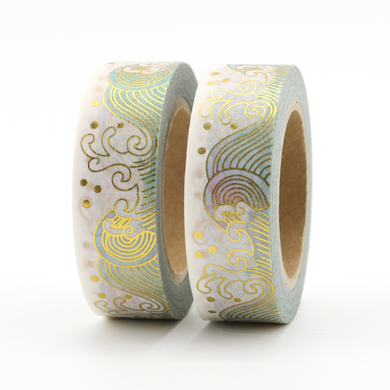 15mm*10mm Creative Ocean Wave Masking Washi Tape Decorative Gold Adhesive Tape Decora Diy Scrapbooking Sticker Label Stationery