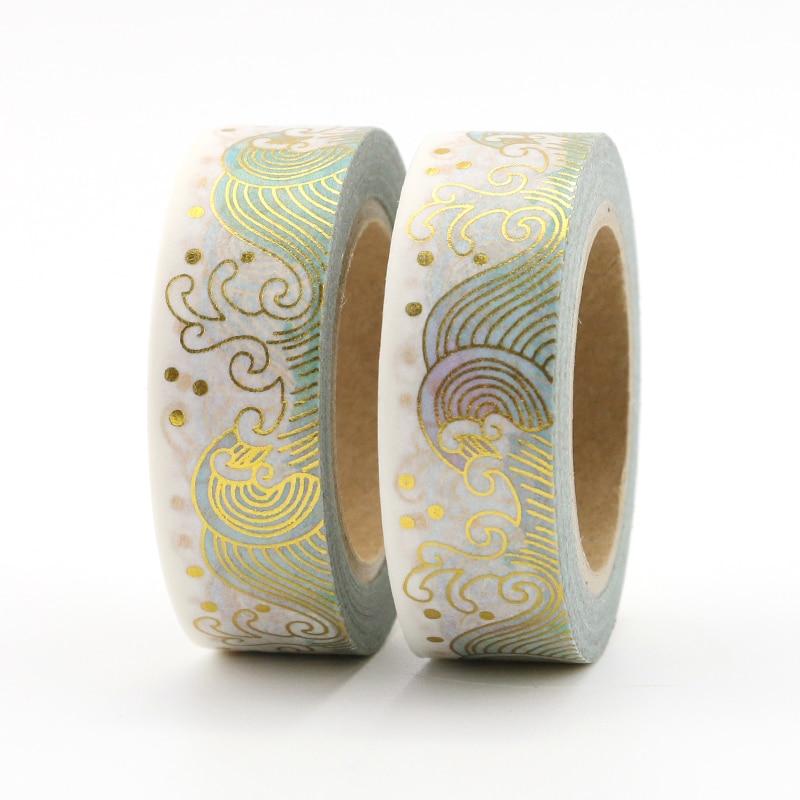 15mm*10mm Creative Ocean Wave Masking Washi Tape Decorative Gold Adhesive Tape Decora Diy Scrapbooking Sticker Label Stationery