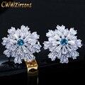 CWWZircons дизайнерский кластерный цветок, высококачественный светильник, большие французские зажимные серьги-клипсы с синим кубическим цирко...