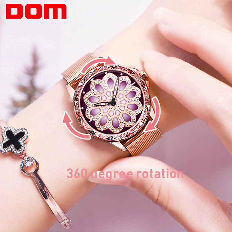 DOM Gold Watch Women Quartz Watches Ladies Top Brand Luxury Flower Female Wrist Watch Girl Clock Rotating Watch G-1257GK-9MS
