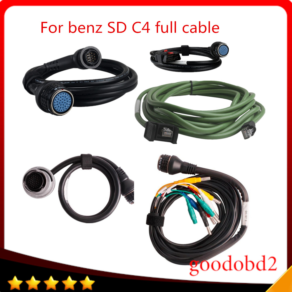 For benz MB star C4 SD CONNECT COMPACT 4 C4 Star Diagnosis car truck tool l full cable full set 5pc/set cable obd2 16pin cable 3dr radio 915mhz module w anteena for telemetry on apm 2 blue green