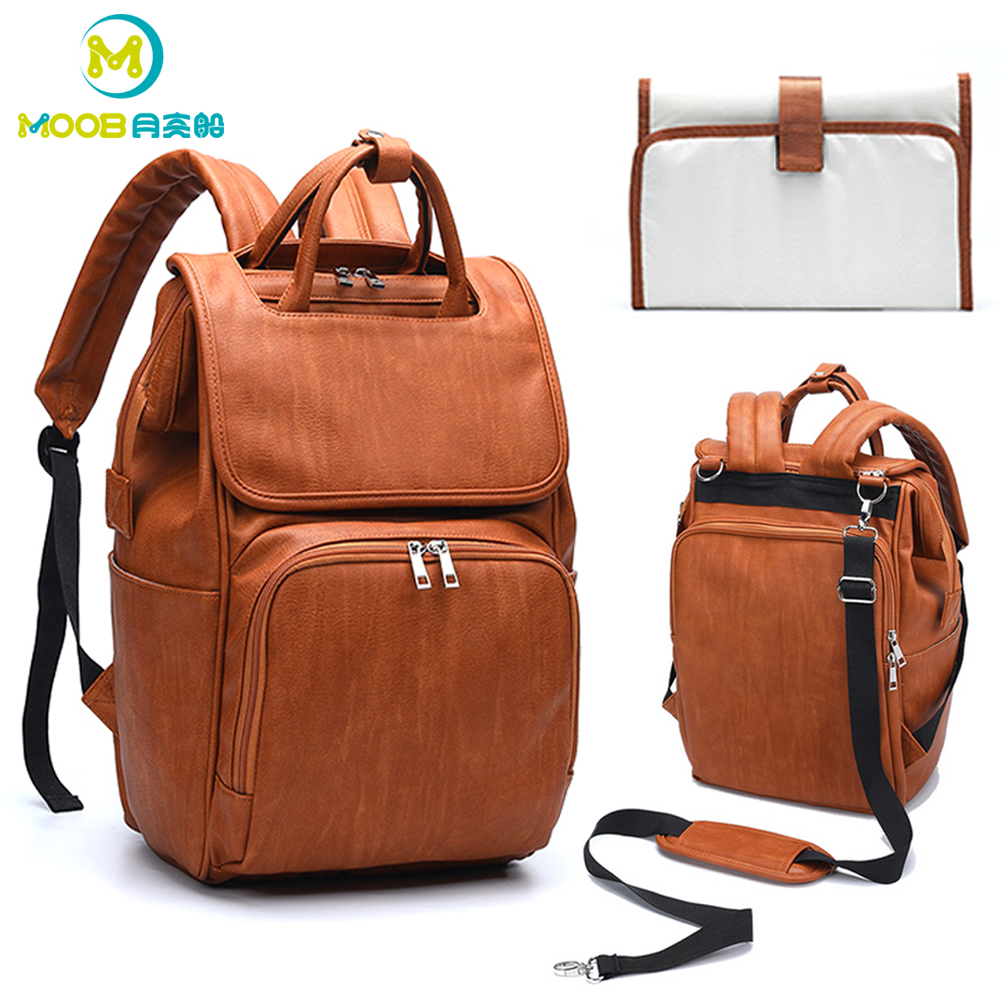Baby Diaper Bag PU Leather Backpack For Moms Large Capacity Maternity Nappy bag With Changing Pad