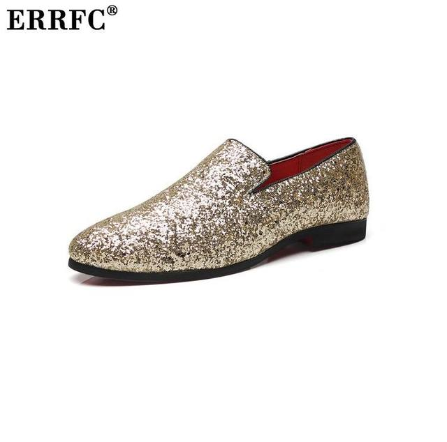 ERRFC New Arrival Bling Men Casual Loafer Shoes Fashion Slip On Gold Silver  Trending Leisure Shoes For Party Show Zapatos 38-48 6c66d01e7a38
