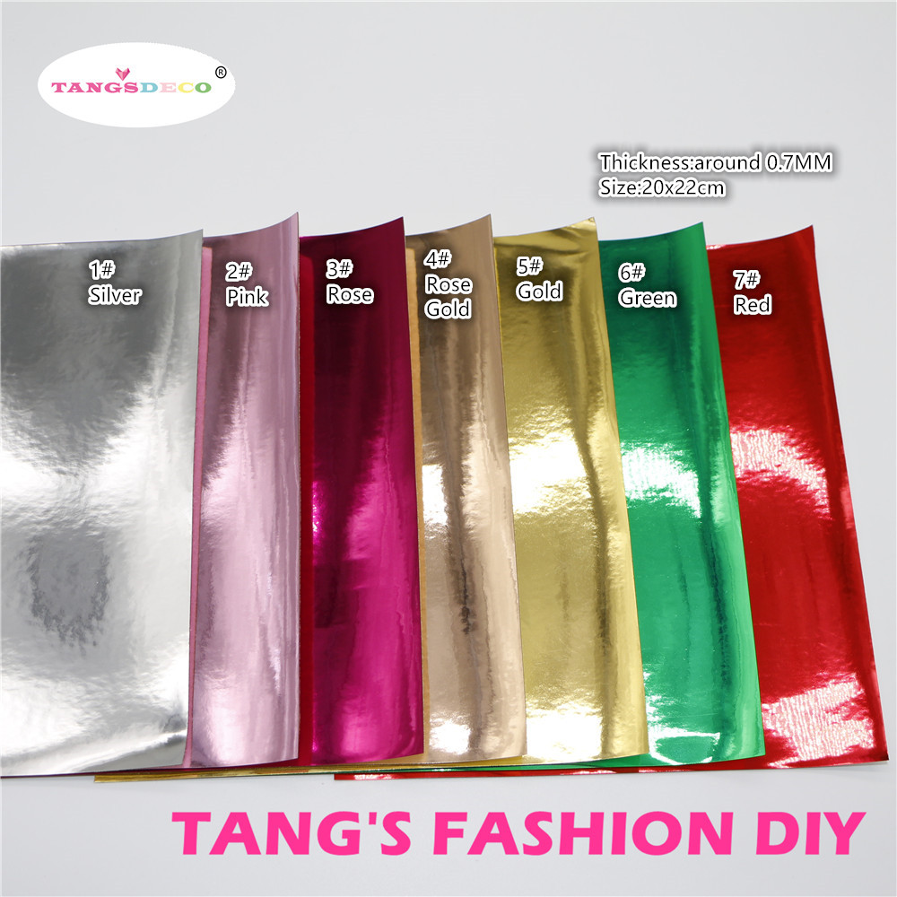 21PCS--20X22CM DIY METAL COLOR PU Glossy Leather Set Synthetic Leather /DIY Fabric CAN CHOOSE COLOR