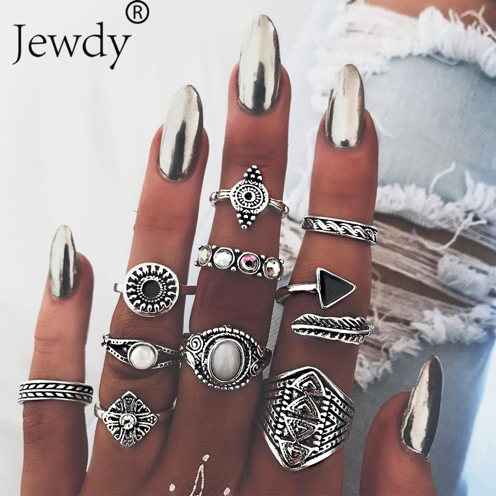 10PCS/Lot Opal Leaf Stone Midi Ring <font><b>Sets</b></font> New <font><b>2019</b></font> Fashion Vintage Crystal Crystal Knuckle Rings <font><b>for</b></font> Women Anillos Mujer <font><b>Jewelry</b></font> image