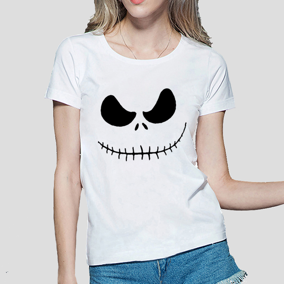 2018 Jack Skellington Funny Print T shirt Women Casual short sleeve tee fashion harajuku brand female clothing fitness punk tops