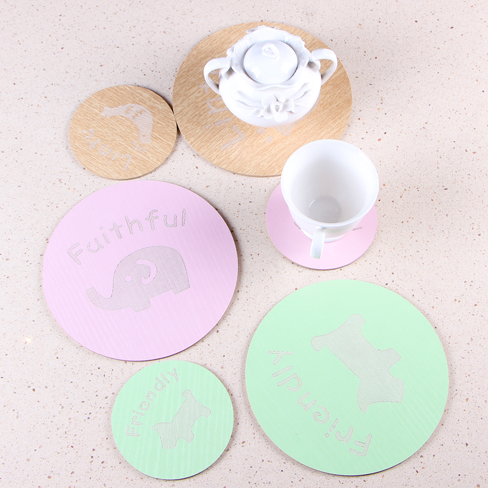1 Piece wooden kitchen table mat and coaster bar cup mat animal design drink pads pot holder