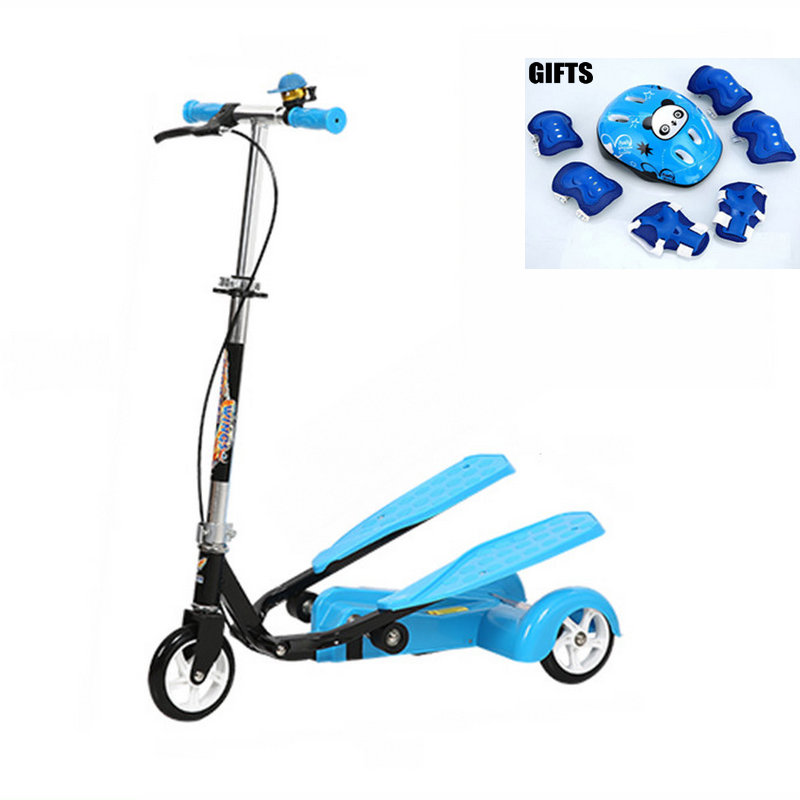 Easy Ride Kids 2 Pedal Scooter with Hand Brake, Double Pedal Scooter With Protective Gear, Fitness Scooter with Adjust height