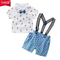 IYEAL תינוק בני נטלמן תלבושות חליפות, תינוק קצר שרוול חולצות + מכנסיים סינר + עניבת פרפר בגדי סטים