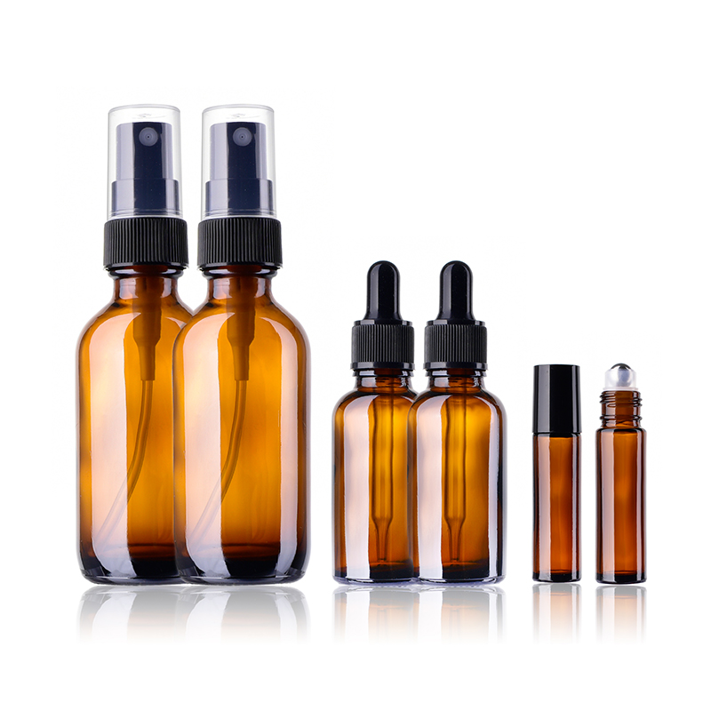6 Pieces 10ml 30ml 60ml Amber Glass Liquid Storage Bottles Lotion ECD Travel Containers  ...