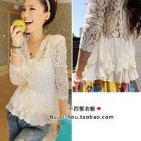 New 2013 Fashion Women Blouses Skinny Shoulder Pad Precious Mosaic Lace Shirt Cardigan Sunscreen Shirt Air