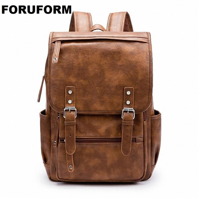 2018 Soft Leather Backpack Men Business Rucksack Fashion Bag Student Schoolbags Travel Bags For Agers