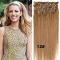 European Virgin Hair Clip In Human Hair Extension 16inch 18inch-24inch Full Head 7Pcs Set Remy Clip In Human Hair 28 Colors