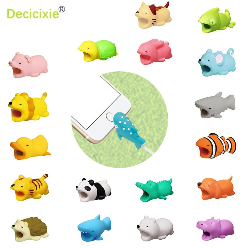 Cute Bite Cartoon Animal Pig Cable Protector for iphone 5 6 7 8 X XS Cord Protection Protective Cover USB Charging Cable Winder cute cartoon style protective pc back case for iphone 5 multicolor