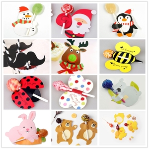 Image 1 - 50/25Pcs Nice Cute DIY Santa Claus/Snowman/Penguin Paper Invitation Cards Lollipop Christmas Gift Package Decor