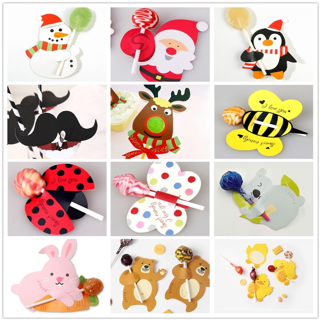50/25Pcs Nice Cute DIY Santa Claus/Snowman/Penguin Paper Invitation Cards Lollipop Christmas Gift Package Decor