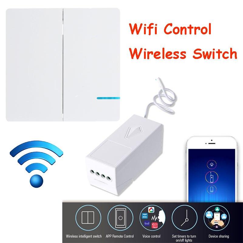 EU US 2 Gang 1 voie Wifi interrupteur mural sans fil relais de lumière à distance App intelligente commande vocale Wifi interrupteur travail Alexa Tuya Smartlife