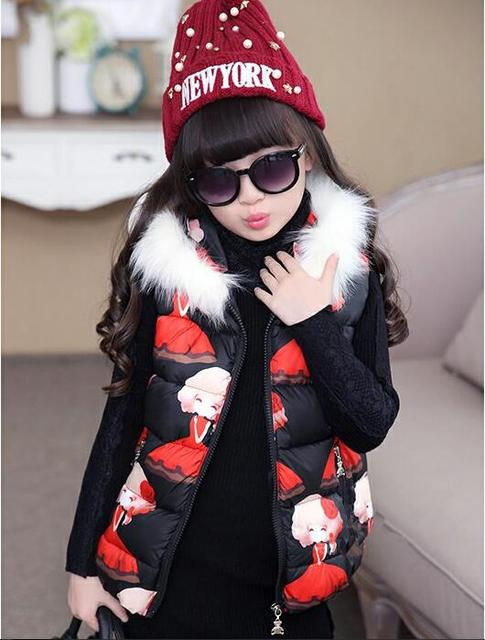 2016 winter children's clothes girls vest print thicken fur hooded baby girl padded vests for girls big kids fashion waistcoat