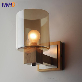 IWHD Nordic Modern LED Wall Lamp Wooden Glass Creative Wall Light Simple Wall Sconses Fixtures Home Lighting Luminaire Arandela