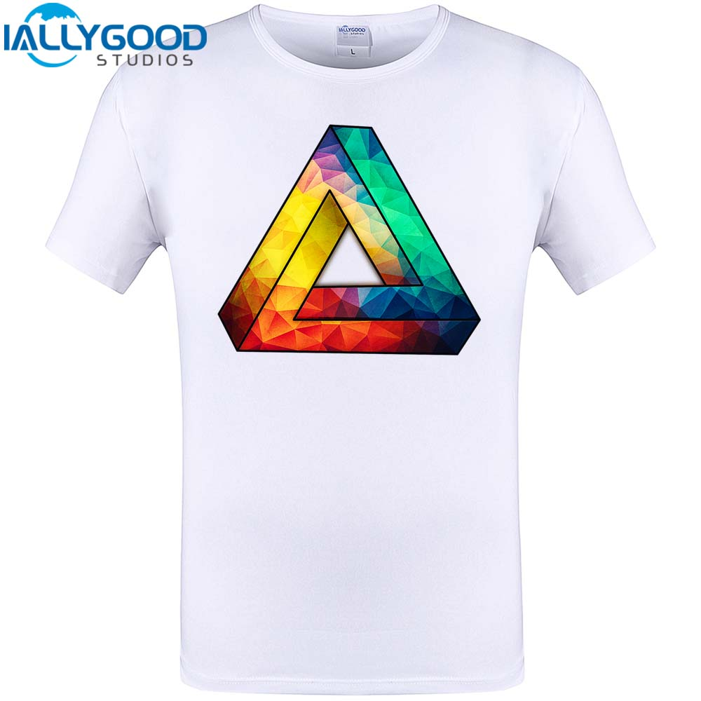 Cool Abstract Color Geometric Triangle Print Mens Fshion T Shirt 2017 New Summer Hipster Men Tops