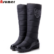 asumer 2017 cotton fashion waterproof snow boots women's knee high boots flat winter boots platform fur shoes women size 34-44