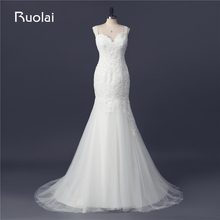Real Picture Sexy Wedding Gown Sweetheart Applique Crystal Beads Tulle Mermaid Wedding Dresses Bridal Gown Robe de Mariage FW90