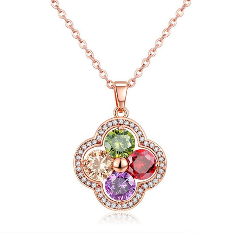 Luckyshine Special Unique Flower Fire Rainbow Crystal Cubic Zirconia Rose Gold Necklaces Russia Canada Pendants Chain Necklaces