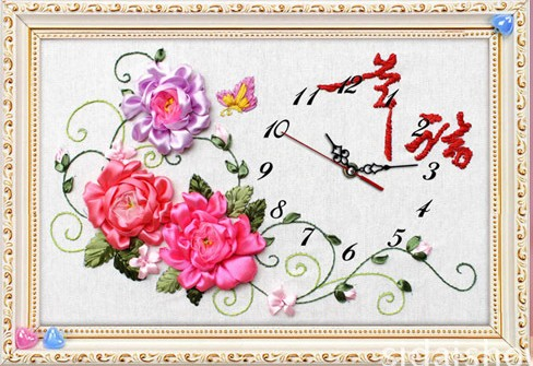 Peony Flower Ribbon Embroidery Kits Arabic Numerals Clock