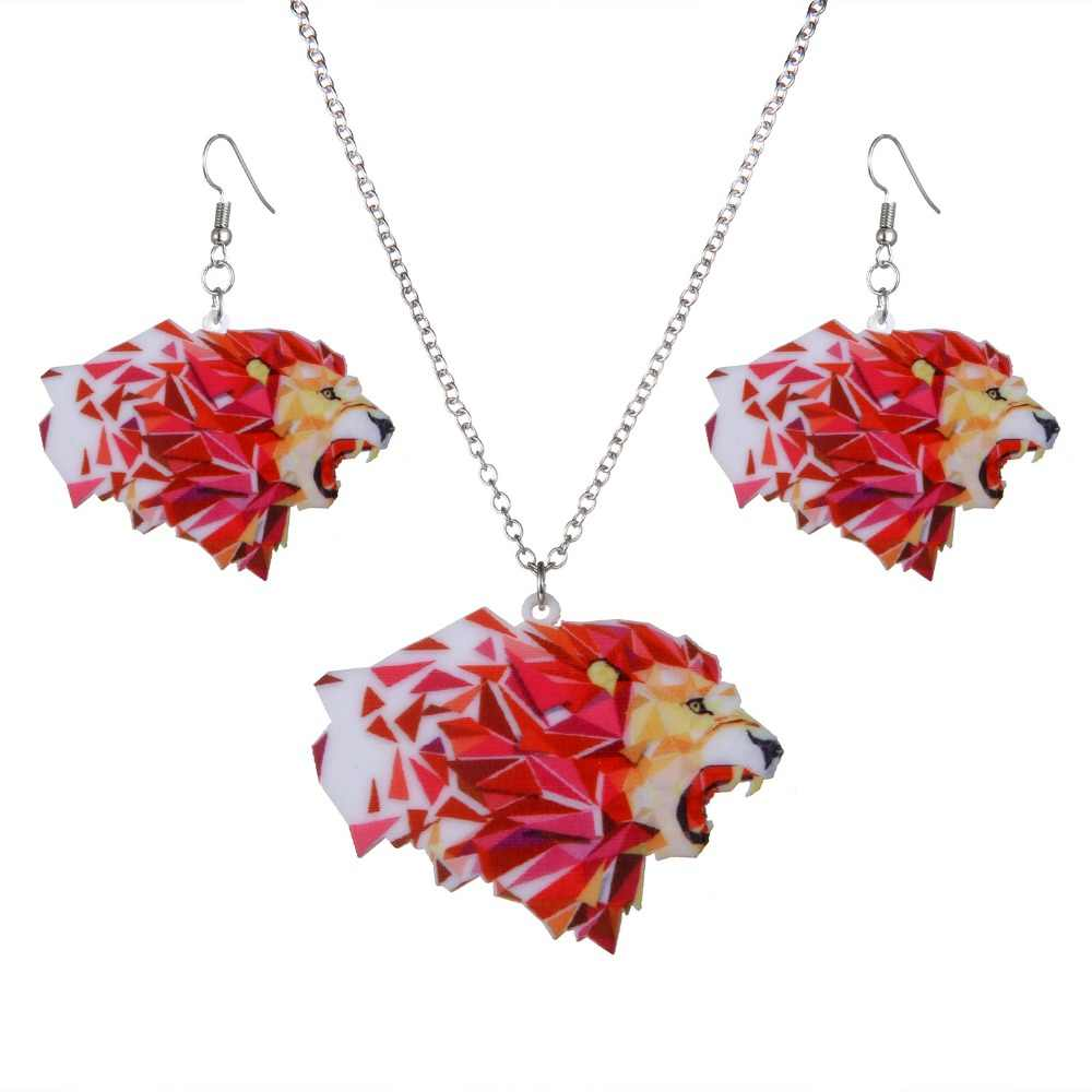 Fashion Cute Animal Lion Pinting flower Acrylic Necklace Jewelry set for Women Lady Wedding Bride party Necklace Earring Gift