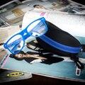 2016 Estudante Retro Lente Clara Óculos de Armação Não-Mainstream Óculos Sólidos Homens Mulheres Decoração Da Lente Olho Quadro com Vidro caso