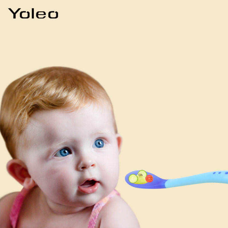 เด็กอุณหภูมิช้อนซิลิโคนความปลอดภัยทารกช้อนส้อมช้อนป้อนอาหารเด็กชุดอาหารเด็กเด็กภาชนะ
