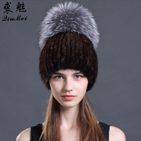 2018 New Women's Fashion Fur Hat Autumn Winter Hats Female Real Mink Beanies Natural Mink Fur Pompom Gilrs Warm Knit Fur Caps