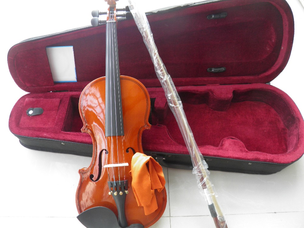 Wood Violin Full Set With Case Bow 1/16 1/10 1/8  1/4 2/4 3/4  4/4  All Size