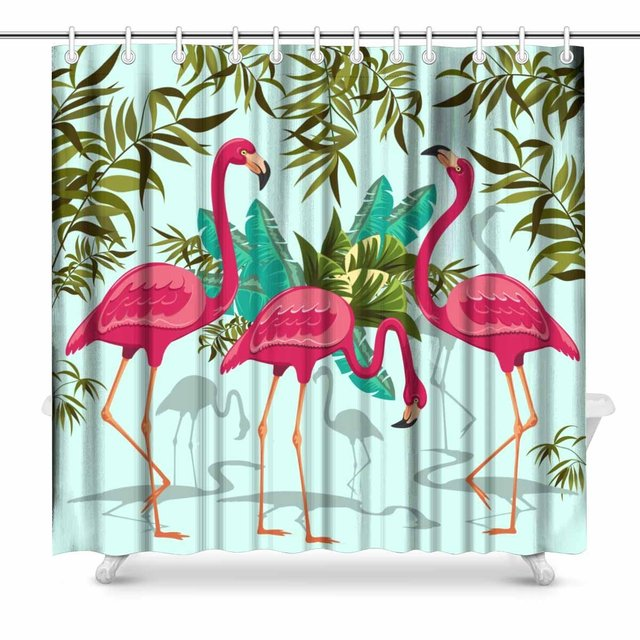 Aplysia Pink Flamingos Exotic Birds Bathroom Shower Curtain Accessories 72 Inches Extra Long