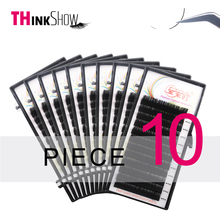 Thinkshow 10pcs/lot Silk Volume Russia 3D Lash Korea Slik Handmade Eyelash Extension Makeup Eyelashe Maquiagem Faux Cils
