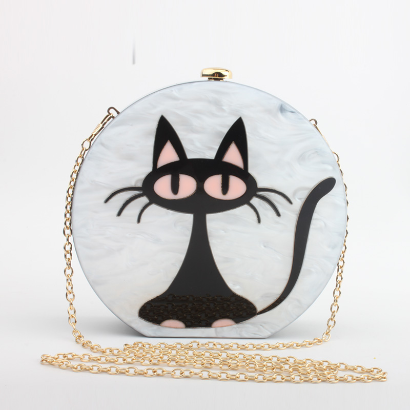 ФОТО 2017 new fashion stitching cartoon cute cat acrylic dinner banquet handbag holding clutch party prom dinner bag evening clutch