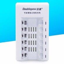 K206 doublepow 6 ranuras universal led de indicación de luz aa aaa cargador de batería de carga rápida cargador de batería blanco