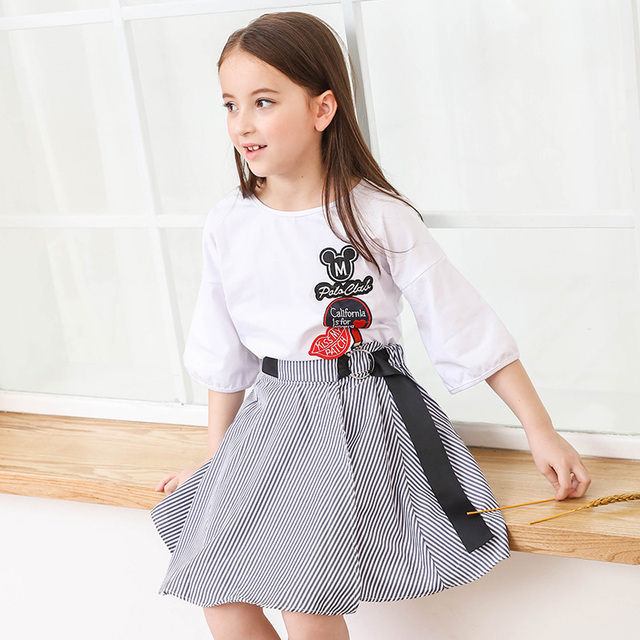 419bef743c13d US $27.5 45% OFF|2018 Newest 6 15Y Girls Cartoon White Half Sleeve T Shirt  Striped Skirt Set Summer Teens Kids Outfits for Girls Clothing Sets-in ...