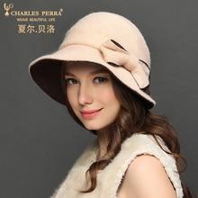 Charles Perra Brand Women Hat NEW Autumn Winter Wool Caps Keep Warm Elegant Lady Fashion Bowknot Fedoras Corros 8232